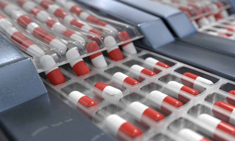 Red and white capsules in pharmaceutical production line. 3D rendered illustration.
